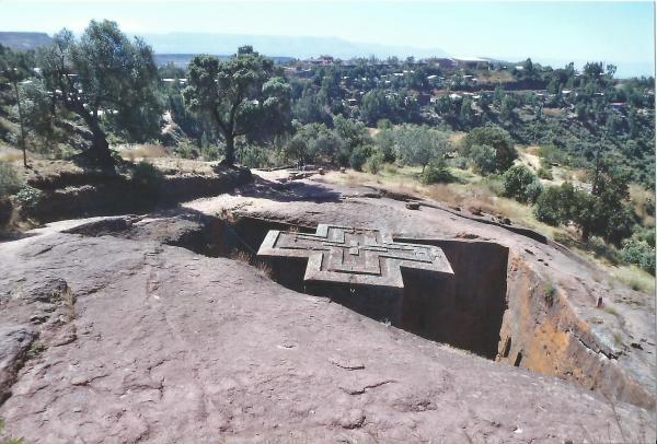 Lalibela-crkv Sv. Jakova krov izgrađen u obliku križa iz jednog komada vulkanskog kamena